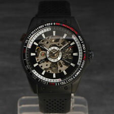 Men Transparent Skeleton Automatic Mechanical Rubber Army Sport Watch Hot 8182