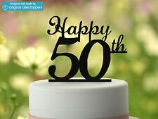 """""""Happy 50th"""" - Black - 50th Birthday Cake Topper - Made by OriginalCakeToppers"""