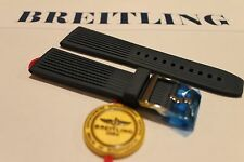 100% Genuine New Breitling Blue Ribbed Diver Pro Tang Buckle Strap, 24-20mm.