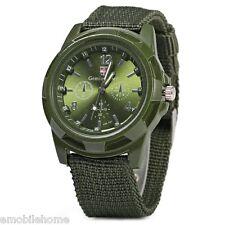 Gemius Solider Army KnittedCanvas Band Male Sport Quartz Wrist Watch Green