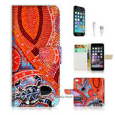 "iPhone 6 (4.7"") Print Flip Wallet Case Cover! Aboriginal Dot Art Turtle P0357"