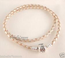 "Genuine PANDORA Off-White CHAMPAGNE Leather/Silver DOUBLE Bracelet 16.1""/41cm"