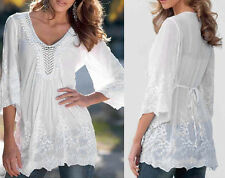 Fashion Casual Women Long Sleeve T-shirt Lace Solid V-neck Loose Blouse Tops