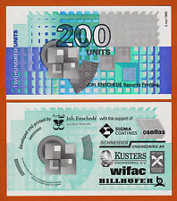 Netherlands Test Note - Joh. Enschede 200 Units 1995 UNC