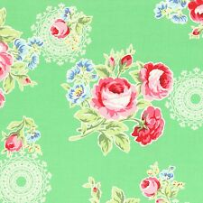 GREEN FLOWER SUGAR FALL ROSES FLORAL #3553 BTY COTTON QUILT LECIEN JAPAN FABRIC