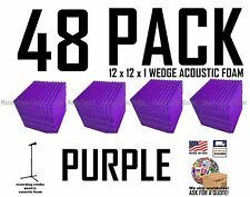 48 pack PURPLE Acoustic Wedge Studio Soundproofing Foam Wall Tiles 12x12x1