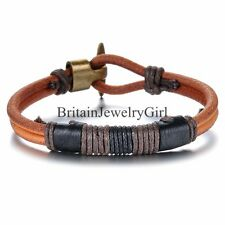 Fashion Mens Brown Black Leather Rope Bracelet Tribal Braided Cuff Bangle 8.66""