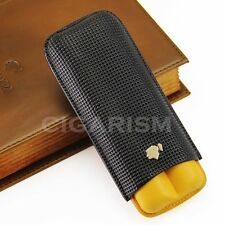 145mm*63 COHIBA Embossed Leather Cigar Case Holder 2 Tube W/ Fancy Gift Box
