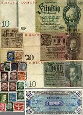 NAZI GERMANY BANKNOTE, COIN AND STAMP SET   * L *