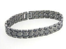 Mens Train Track Magnetic Therapy Titanium Metal Jewelry Link Bracelet, 8""