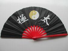 """13""""Chinese Kung Fu Wushu martial art Dance Training Red bone black""""Tai Chi """" Fan"""