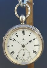 ANTIQUE 1884 JOHN MASON SOLID SILVER POCKET WATCH - WORKING - WITH KEY