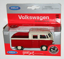 Welly - VW Volkswagen T1 Double Cab PickUp (Red/White) - Model Scale 1/39