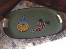 Vintage Plastic Serving Tray 1960s Funky grapes Wine bottle art wrapped handles