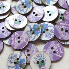 New 40pcs Lavender Wood Sewing Buttons Craft Mix Bulk Lots