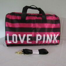 "Victoria's Secret PINK ""Satiny"" ""LOVE PINK"" Striped Tote/Duffle Bag Pink/Black"
