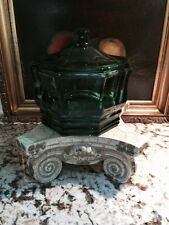 Vintage Glass Eight Sided Candy Dish Jar Apothecary Green