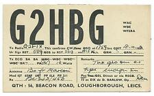 LEICESTERSHIRE - LOUGHBOROUGH 1952 QSL Tranmission Confirmation Card  G2HBG