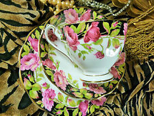 QUEEN ANNE TEA CUP AND SAUCER TRIO ~BLACK MAGIC~ FLUTED BLK.  PINK ROSES  GOLD