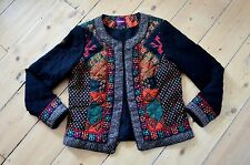 QUILTED BOX JACKET indian WOOL COTTON mirrors festival monsoon summer UK 18