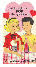Vintage Valentine Card Malt Shop Boy and Girl Unused Die Cut
