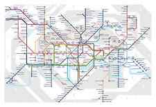 Large Framed Print - London Underground Tube Map (Picture Poster Art Trains)