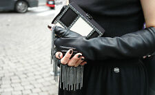 Chanel Black Leather Chain fingerless Gloves Size 7
