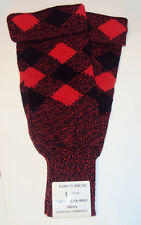 SCOTTISH REGIMENTAL FOOTLESS TARTAN STOCKING HOSE - BLACK AND RED - SIZE 2 - NEW