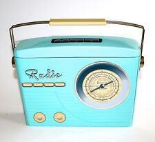 NOVELTY RADIO BISCUIT TIN RETRO CLASSIC STYLE LIGHT BLUE & CREAM EMBOSSED HANDLE
