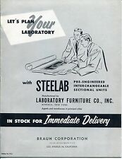 "Vintage ""STEELAB"" Sales Catalog: LAB FURNITURE, FUME HOOD, VALVES"