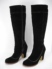 CHIE MIHARA BLACK SUEDE PLATFORMS SIDE ZIP KNEE HIGH BOOTS WOMEN'S 38.5 M