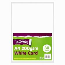 30 x A4 PREMIUM QUALITY WHITE CARD 200 GSM ARTS CRAFTS CARD MAKING PAPER NEW