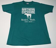 VTG 80s (L) NORTHERN EXPOSURE Green T-Shirt TV Show Roslyn Washington Cicely AK