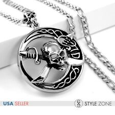 Men's Vintage Gothic Stainless Steel Pirate Skull Head Round Pendant Necklace P1