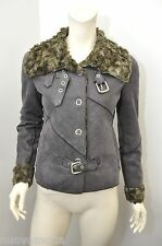 Womens Armani Jeans Faux Fur Buckle Snap Up Coat In Size 4 Small Made In Italy