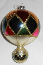 Beautiful New X'Mas Glass Arreola Designs Hand Blown Hot Air Balloon Ornament