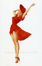 New Pin Up Girl Poster 11x17 Alberto Vargas Blonde Red Dress Long Legs High Heel
