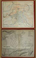 1893-ITALIA-CONTORNI DI TIVOLI +VILLA ADRIANA-BAEDEKER CARTA ORIGINALE