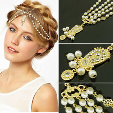 Women Retro Head Chain Jewelry Rhinestone Pearl Headband Head Piece Hair Band