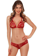 Exotic Lace Triangle Thong Bra Bikini Lingerie Sets Red