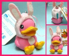 Pink plastic toy Duck with Rabbit Hat Keychain / phone strap