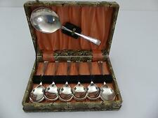 (ref165BT) Set of vintage silver plated fruit spoons and server
