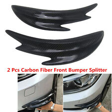 2x Real Carbon Fiber Car Bumper Spoiler Front Splitter Shark Fin Canards Chin