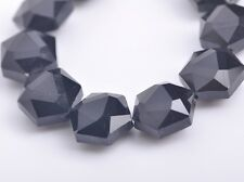 10pcs 16mm Hexagon Faceted Crystal Glass Charms Loose Spacer Beads Black