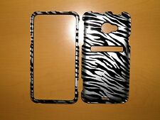 SPRINT HTC EVO LTE BLACK AND SILVER ZEBRA SNAP ON COVER/CASE NEW