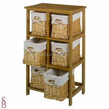 6 Basket Tall Wooden Storage Unit - Brown - BNIP