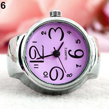 Women Girl Fancy Exclusive Steel Round Elastic Quartz Finger Ring Watch