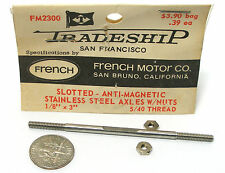 """1pc TRADESHIP Slot Car STAINLESS STEEL AXLE 1/8""""x3""""  5/40 Thread FM2300 French"""