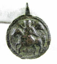 RARE MEDIEVAL BRONZE RELIGIOUS PENDANT DEPICTING ST. GEORGE  - WEARABLE - MN86