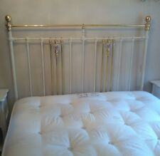 Antique Victorian Brass And Iron Kingsize Bed Frame With Sprung Base